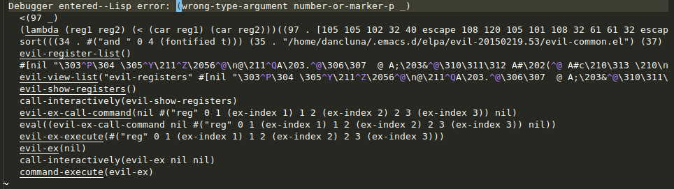 Backtrace with 'wrong-type-argument number-or-marker-p _' error